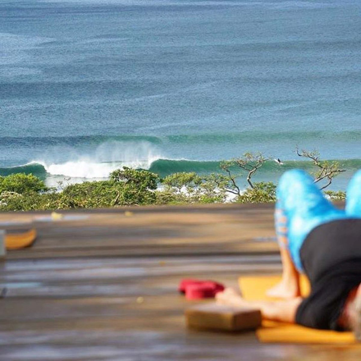 Yoga deck surf coaching accommodation maderas